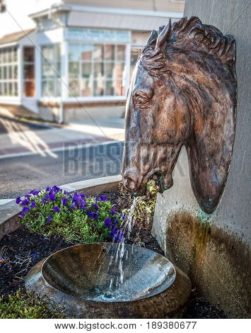 The historic horse fountain on Main St in Heightstown New Jersey.