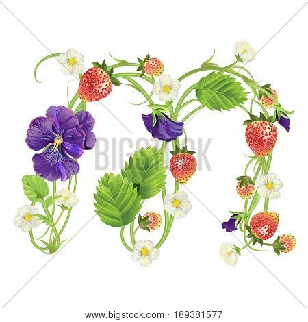 Letter M Strawberry font. Red Berry lettering alphabet. Vector realistic illustration ABC. Design for grocery, farmers market, tea, natural cosmetics, summer garden design element.