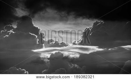 Gateway to heaven, black and white sky with clouds, abstract clouds