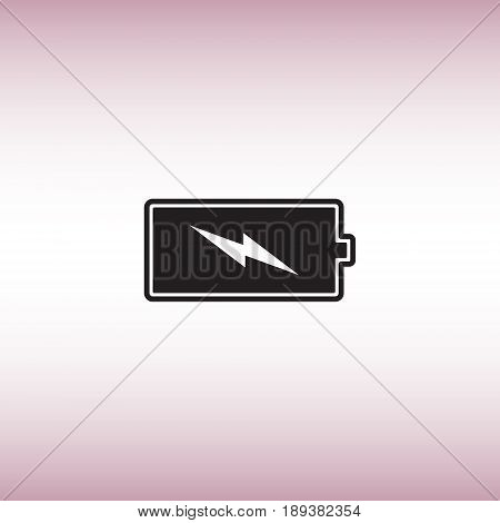 Battery flat vector sign. Black battery isolated vector icon. Energy level button illustration.
