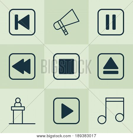Audio Icons Set. Collection Of Extract Device, Mute Song, Rostrum And Other Elements. Also Includes Symbols Such As Scene, Extract, Eject.