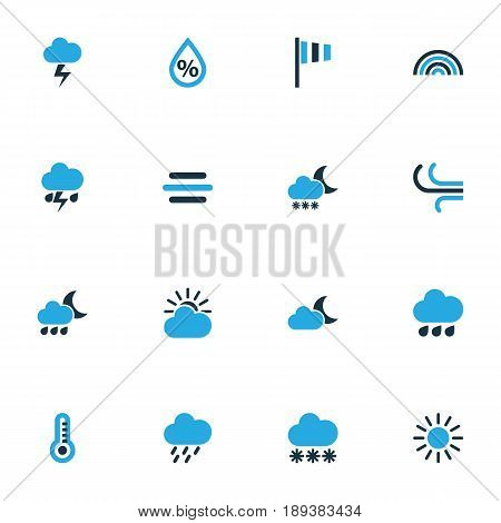 Meteorology Colorful Icons Set. Collection Of Arc, Blizzard, Snowfall And Other Elements. Also Includes Symbols Such As Flag, Cloudy, Forecast.