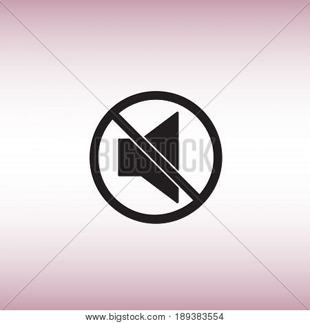 Isolated mute vector icon. Mute button flat sign. Sound off vector pictogram.