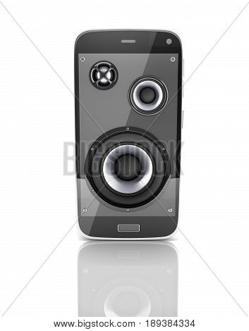 Musical Smartphone Mobile Phone Music App Cellphone And Loudspeakers With Notes On White Background