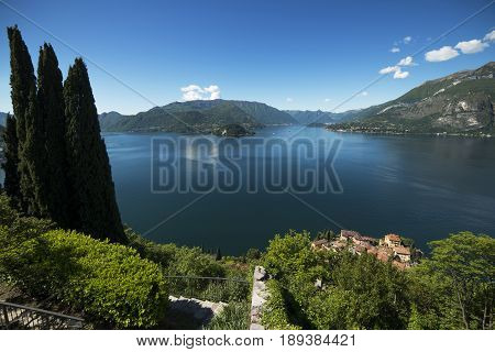 Panoramic view of Lake Como_the promontory of Bellagio from Vezio castle