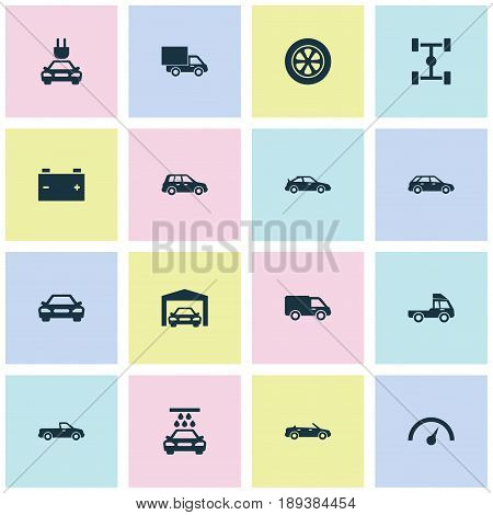 Automobile Icons Set. Collection Of Transport Cleaning, Accumulator, Plug And Other Elements. Also Includes Symbols Such As Chronometer, Accumulator, Convertible.