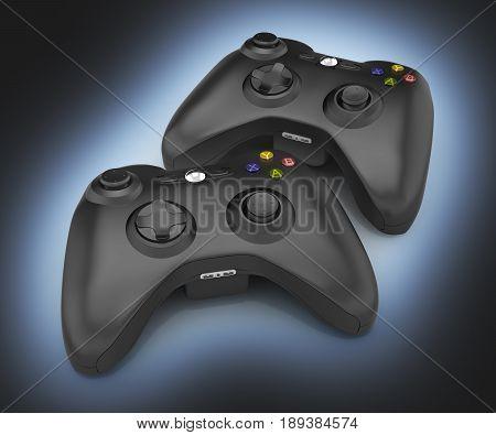 Black Gamepads Multiplayer Games Illustration On Blue And Black Gradient Background 3D