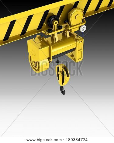 Overhead Crane Isolated On Black Gadient Background 3D
