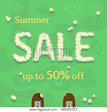 Flat summer sale vector banner poster flyer. Fresh creative design of sale template. Vector illustration with flowers on grass and old ragged shoes.