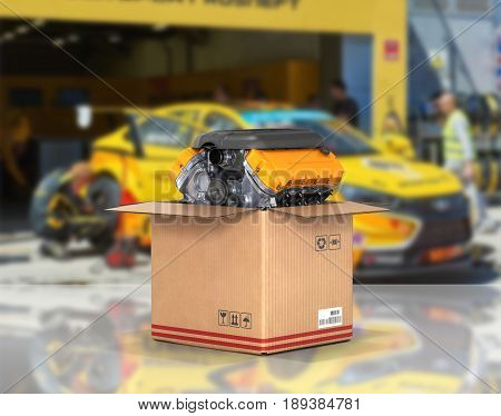 Engine In A Cardboard Box Concept Of Sale And Delivery Of Auto Parts On Service Station Background 3