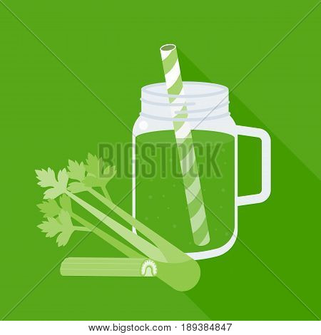 Celery juice in mason jar with celery, flat design vector
