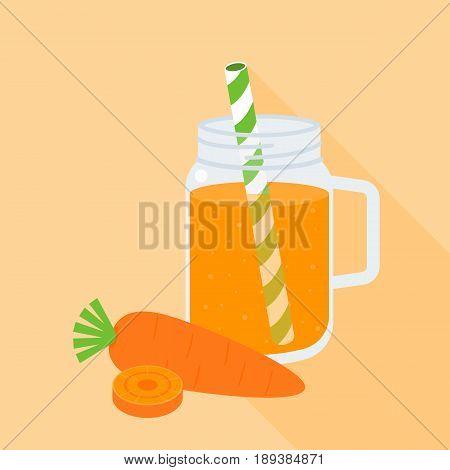 Carrot juice in mason jar with carrot, flat design vector