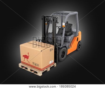 Forklift Truck With Box On Pallet On Black Gradient Background 3D