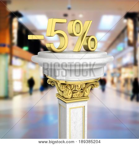 Gold Text 5 Percent Off Standing On The Pedestal On Shopping Center Background 3D Render