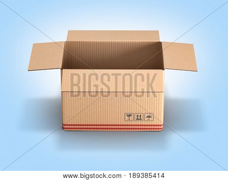 Cardboard Box On Blue Gradient Background 3D