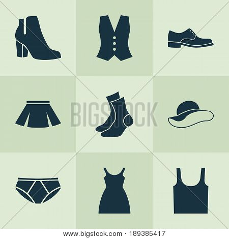 Clothes Icons Set. Collection Of Singlet, Stylish Apparel, Elegant Headgear And Other Elements. Also Includes Symbols Such As Waistcoat, Clothes, Sundress.