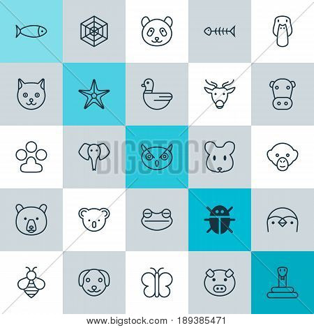 Zoo Icons Set. Collection Of Seafood Skeleton, Bumblebee, Goose And Other Elements. Also Includes Symbols Such As Diver, Koala, Mouse.