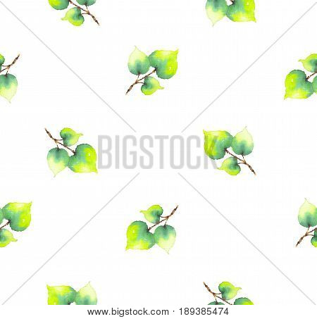 The twigs with green leaves painted watercolor on white background. Seamless raster pattern for decoration, design, wallpapers, textile, tissue, clothing, dress, clothes, bed linen, holiday, party