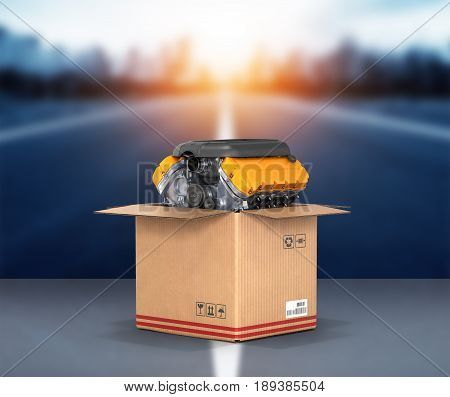 Engine In A Cardboard Box Concept Of Sale And Delivery Of Auto Parts On Road Background 3D
