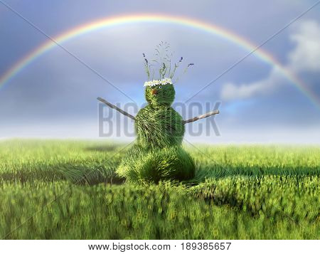 grassman invites in summer, 3d illustration