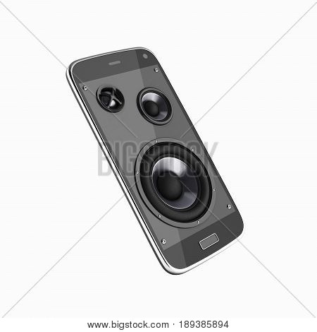 Musical Smartphone Mobile Phone Music App Cellphone And Loudspeakers Without Shadow On White Backgro