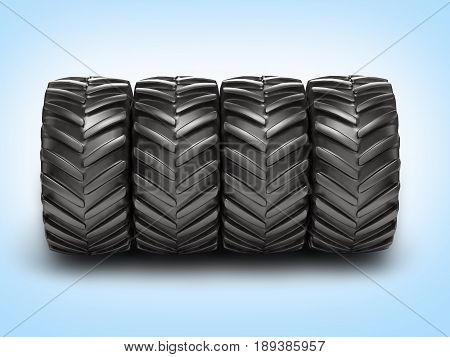 Off-road Wheels On Blue Gradient Background 3D