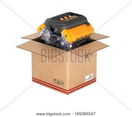 Engine In A Cardboard Box Concept Of Sale And Delivery Of Auto Parts On White Background Without Sha