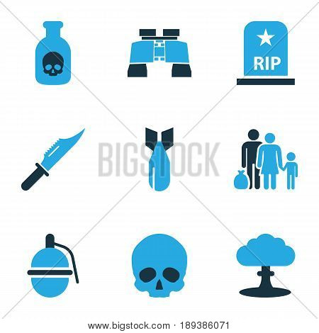 Battle Colorful Icons Set. Collection Of Skull, Knife, Grenade And Other Elements. Also Includes Symbols Such As Cranium, Fugitive, Grenade.
