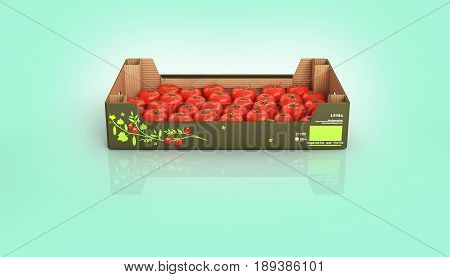 Fresh Tomatos In Box Isolated On Blue Gradient Background With Reflection 3D