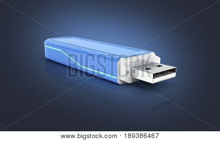 Usb Flash Drive In Blue With Backlight On Dark Blue Gradient Background With Reflection 3D