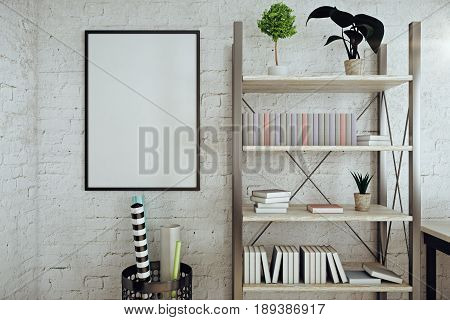 Front view of modern white brick interior with empty picture frame shelves with book plants and other items. Mock up 3D Rendering