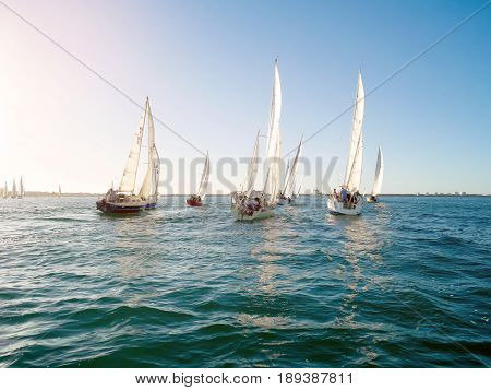 Bunbury Western Australia - February 10: Yacht competes in a regatta for Koombana Bay Sailing Club members in Bunbury Western Australia on February 10 2016