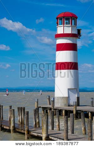 Neusiedl see in the wind windsurfing on the lake lighthouse at the Neusiedler lake