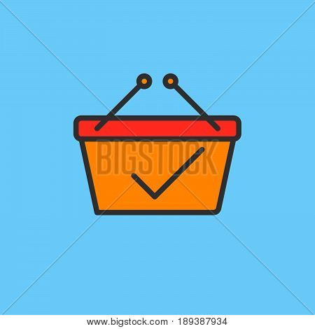 Shopping basket with check mark filled outline icon vector sign Paid colorful illustration