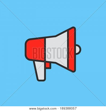 Megaphone Bullhorn filled outline icon Advertising vector sign Loudspeaker colorful illustration