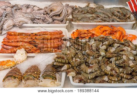 Shellfish and seafood for sale at a market