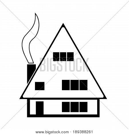 house sketch vector with smoke from chimney isolated on white background