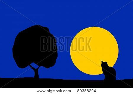 nature illustration - night moon cat silhouette and tree with blue sky background