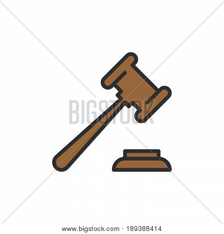 Auction hammer gavel filled outline icon vector sign colorful illustration