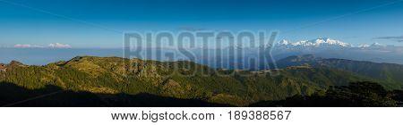 Himalayan range including Everest Kanchenjunga seen from Sandakphu Darjeeling India