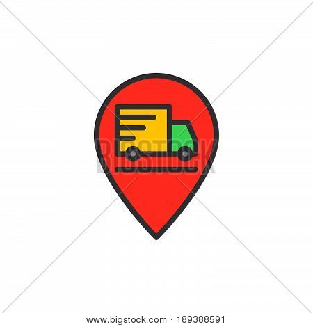 Shipping truck on map pointer filled outline icon vector sign Order on the way colorful illustration