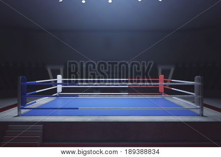 Empty boxing ring. Toned image. Front view 3D Rendering