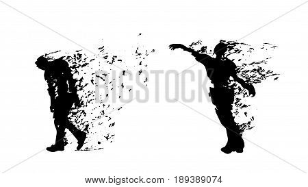 illustration of two black color silhouettes with flying parts isolated on white background