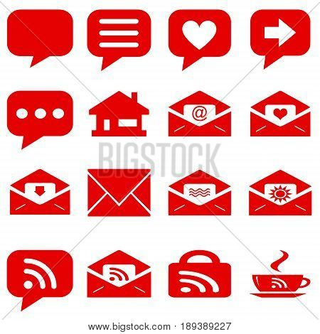 internet icons set - website red buttons vector - message icon