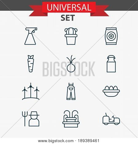 Garden Icons Set. Collection Of Windmill, Grower, Garlic And Other Elements. Also Includes Symbols Such As Garden, Flower, Monument.