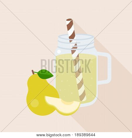 Pear smoothie in mason jar glass with ripe of pear, flat design