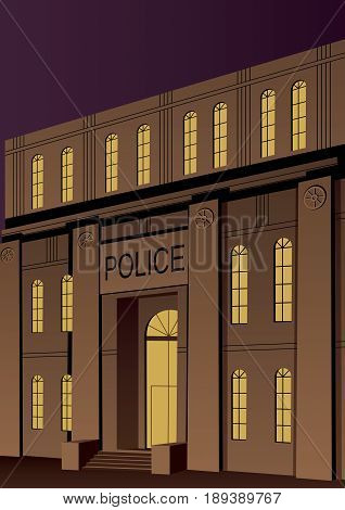 Illustration of police station in Art Deco style.