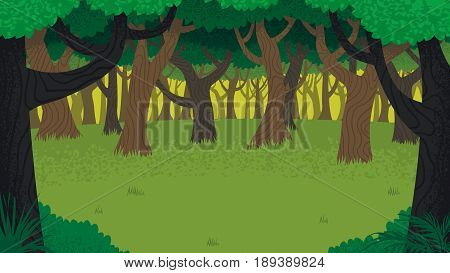 Cartoon illustration of forest with copy space.