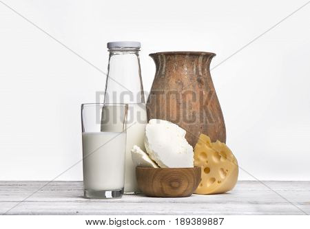 aProtein products cheese cream milk eggs On a white background
