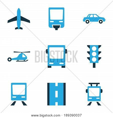 Transport Colorful Icons Set. Collection Of Autobus, Trolley, Monorail And Other Elements. Also Includes Symbols Such As Transport, Road, Trolley.